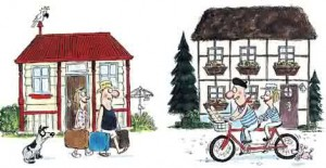Home exchange cartoon